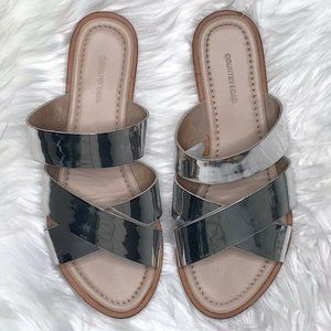Country Road Silver Slides Sandals Shoes Size 38